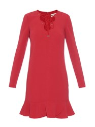 Emilio Pucci Lace Up Ruffle Trimmed Cady Dress