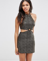 Motel Vail Dress With Cut Out Waist In Shimmer Fabric Black Gold
