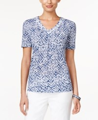 Alfred Dunner Printed Beaded Top Navy
