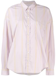 Closed Striped Button Shirt Pink