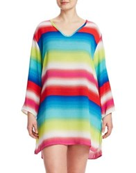 J Valdi Plus Multistriped Long Sleeve Cover Up