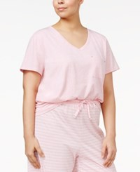 Nautica Plus Size V Neck Pajama T Shirt Heather Pink