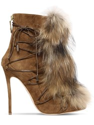 Dsquared 120Mm Riri Suede Lace Up Boots W Fur Beige