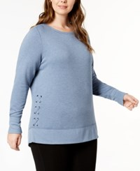 Ideology Plus Size Lace Up Sweatshirt Created For Macy's Serene Blue Heather