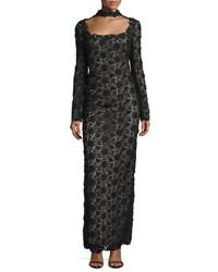 Tom Ford Long Sleeve Open Back Lace Choker Gown Black
