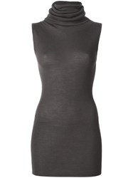 Rick Owens Roll Neck Knitted Top Grey