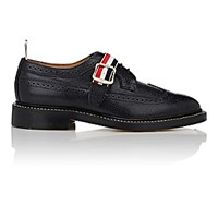Thom Browne Men's Grosgrain Strap Wingtip Bluchers Black Blue Black Blue