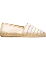 Rene Caovilla Striped Espadrilles Nude And Neutrals