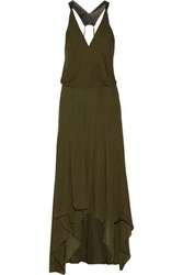 Haute Hippie Leather Trimmed Pleated Silk Chiffon Midi Dress Army Green