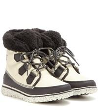 Sorel Cozytm Carnival Fleece Lined Ankle Boots White