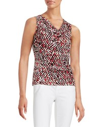 Calvin Klein Plus Abstract Print Cowlneck Shell Red Multi