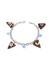 Dolci Gioie Sterling Silver Chocolate Cake Charm Bracelet Brown