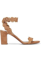 Tabitha Simmons Cloud Metallic Leather Trimmed Suede Sandals Light Brown