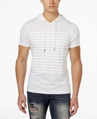 Inc International Concepts Men's Striped Short Sleeve Hoodie Only At Macy's White Pure