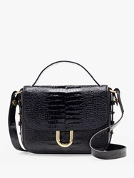 J.Crew Croc Embossed Crossbody Leather Bag Deepest Navy