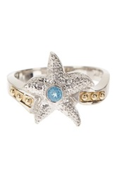 Dani G Jewelry 14K Yellow Gold And Sterling Silver Blue Topaz Star Fish Ring