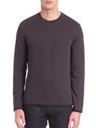 Armani Collezioni Jacquard Jersey Cross Knit Sweater Grey