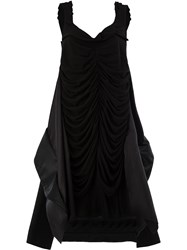 Maison Martin Margiela Ruched Asymmetrical Hem Dress Black