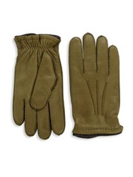 Saks Fifth Avenue Leather Gloves Green Grey