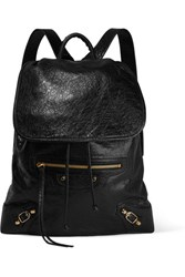 Balenciaga Traveller Textured Leather Backpack Black