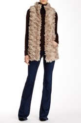 Dawn Levy Faux Fur Reversible Sweater Vest Beige