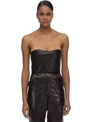 Maryam Nassir Zadeh Strapless Leather Top Brown