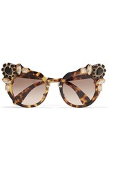 Miu Miu Crystal Embellished Cat Eye Acetate Sunglasses Tortoiseshell