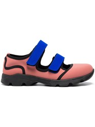 Marni Pink Blue Neoprene Double Strap Sneakers Pink And Purple
