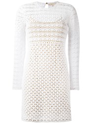 Michael Michael Kors Crochet Bodycon Dress Women Cotton Polyester L White