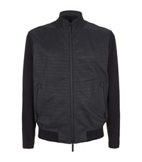 Armani Collezioni Croc Embossed Leather Perforated Jacket Male Navy