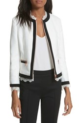 Ted Baker London Lace Trim Crop Jacket White