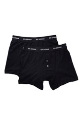 Ben Sherman Button Fly Boxer Trunk Pack Of 2 Black