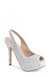 Lauren Lorraine Women's 'Candy' Crystal Slingback Pump White Sparkle