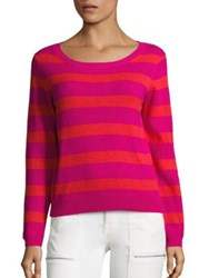 Joie Cais Deck Striped Cashmere Sweater Hot Pink Grenadine