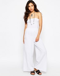 Asos Bandeau Jersey Jumpsuit With Wide Leg White