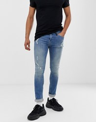 Religion Skinny Fit Jeans With Abrasions In Blue Wash