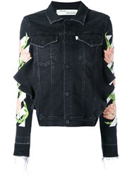 Off White Floral Embroidered Denim Jacket Women Cotton Polyester Spandex Elastane M Black