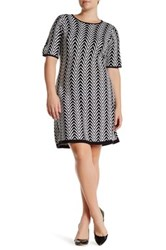 London Times Chevron Fit And Flare Sweater Dress Plus Size Black