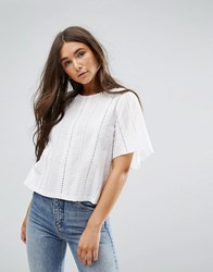 Traffic People Lazer Cut Out Top White