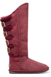 Australia Luxe Collective Spartian Tall Paneled Buckled Shearling Boots Burgundy