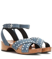 Saint Laurent Embellished Denim Sandals Blue