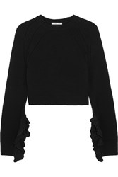 Helmut Lang Cropped Ruffle Trimmed Wool And Cashmere Blend Sweater Black