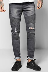 Boohoo Fit Stretch Jeans With Heavy Biker Detail Charcoal