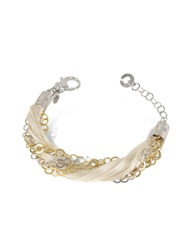 Daco Milano Multi Strand Sterling Silver And Lace Bracelet