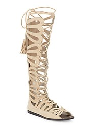 Alice Olivia Carolyn Knee High Leather Gladiator Sandals