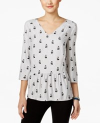 G.H. Bass And Co. V Neck Peplum Top Grey Multi