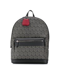 Salvatore Ferragamo Interlocking Gancini Print Backpack Black