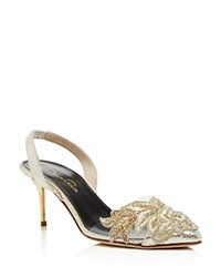 Oscar De La Renta Pamie Beaded Slingback Pumps Smoke Gold
