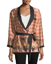 Giada Forte Printed Belted Silk Topper Jacket Red Pattern