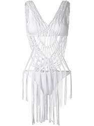 Amir Slama Strappy Swimsuit White